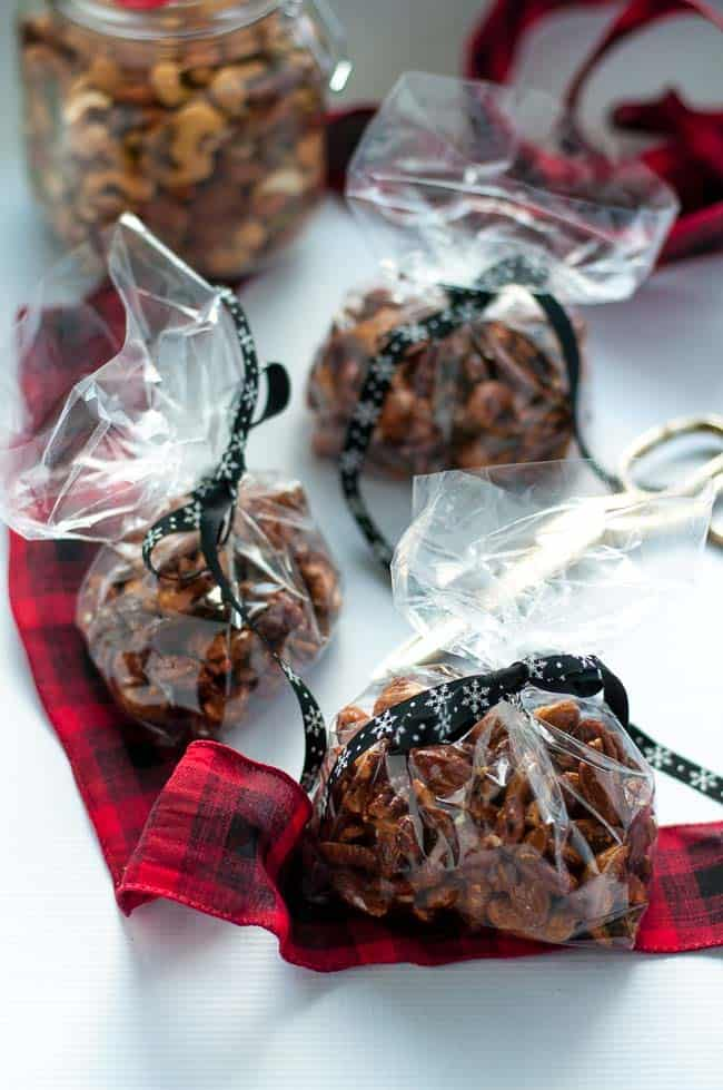 Make this easy 4-ingredient Espresso Glazed Holiday Nut Mix for gifts for friends and family --or just devour it yourself!