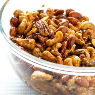 Espresso-Glazed Holiday Nut Mix in a bowl