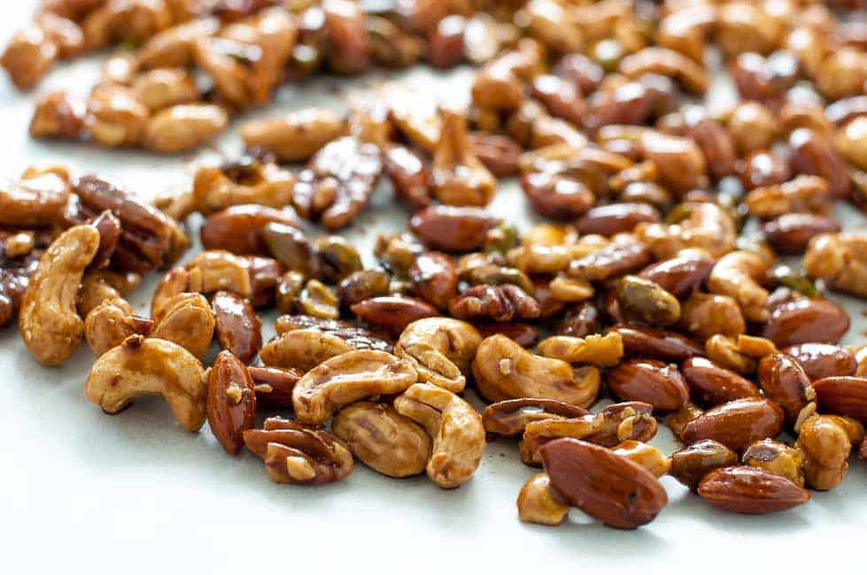 Make this Espresso Glazed Holiday Nut Mix as gifts for friends and family --or just devour it yourself!