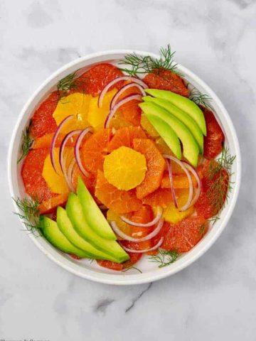 Overhead View of Grapefruit-Orange Avocado Salad with Ginger-Orange Dressing