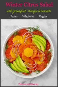 Pinterest Pin for Grapefruit Orange Avocado Salad with fennel