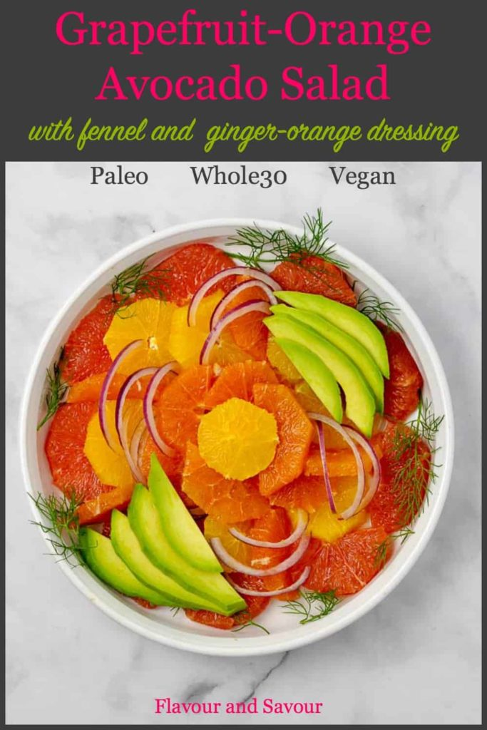 Pin for Grapefruit Orange Avocado Salad