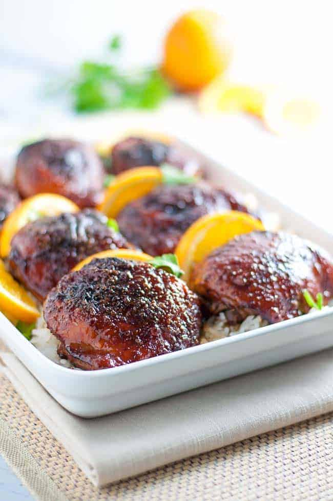 Hoisin Orange Glazed Chicken Thighs. An easy, 5-ingredient glaze for chicken results in succulent, juicy chicken with hints of orange, ginger and garlic. |www.flavourandsavour.com