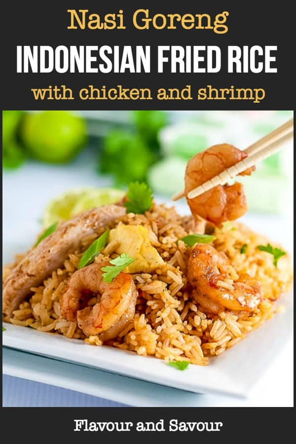 Nasi Goreng Indonesian Fried Rice with chicken and shrimp title