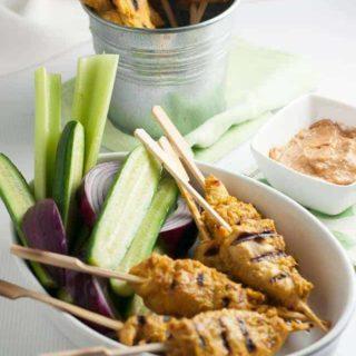Simple Singapore Chicken Satay with Peanut Sauce