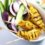 Simple Singapore Chicken Satay with Peanut Dipping Sauce. |www.flavourandsavour.com