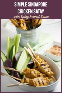 Pinterest pin for Chicken Satay with Peanut Sauce