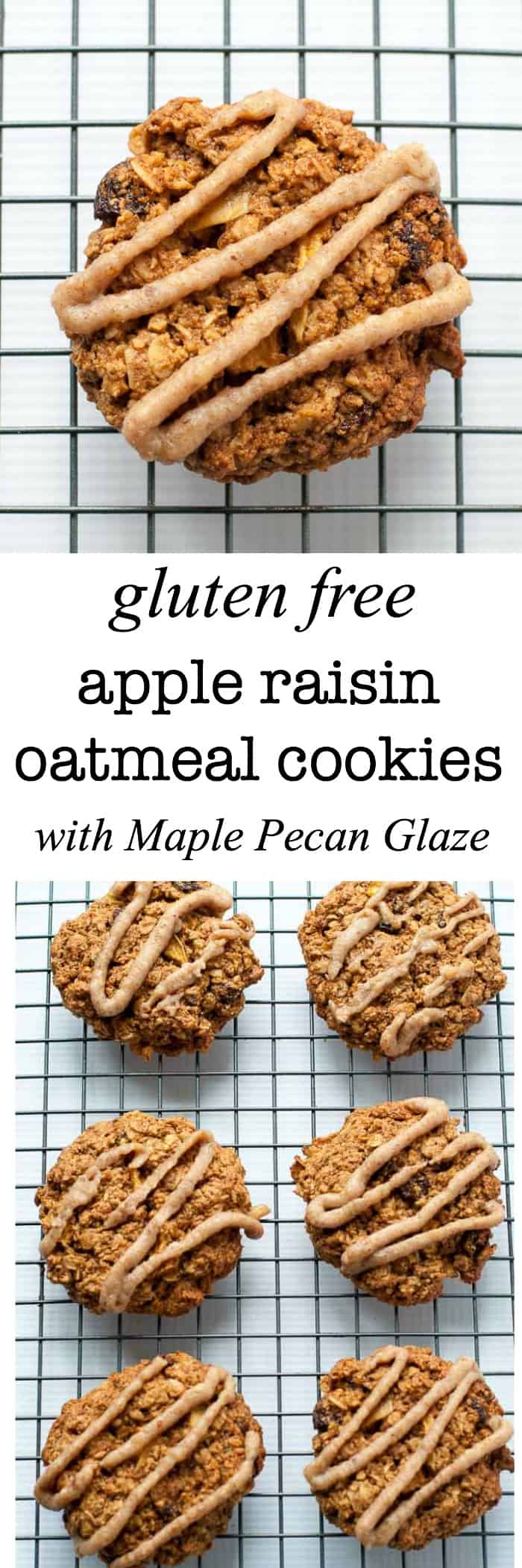 These Gluten Free Apple Raisin Oatmeal Cookies on a cooling rack