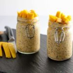 These little jars of breakfast bliss are stuffed full of Mango turmeric Kefir Overnight Oats. They're ready to grab from the fridge on a busy morning. |www.flavourandsavour.com