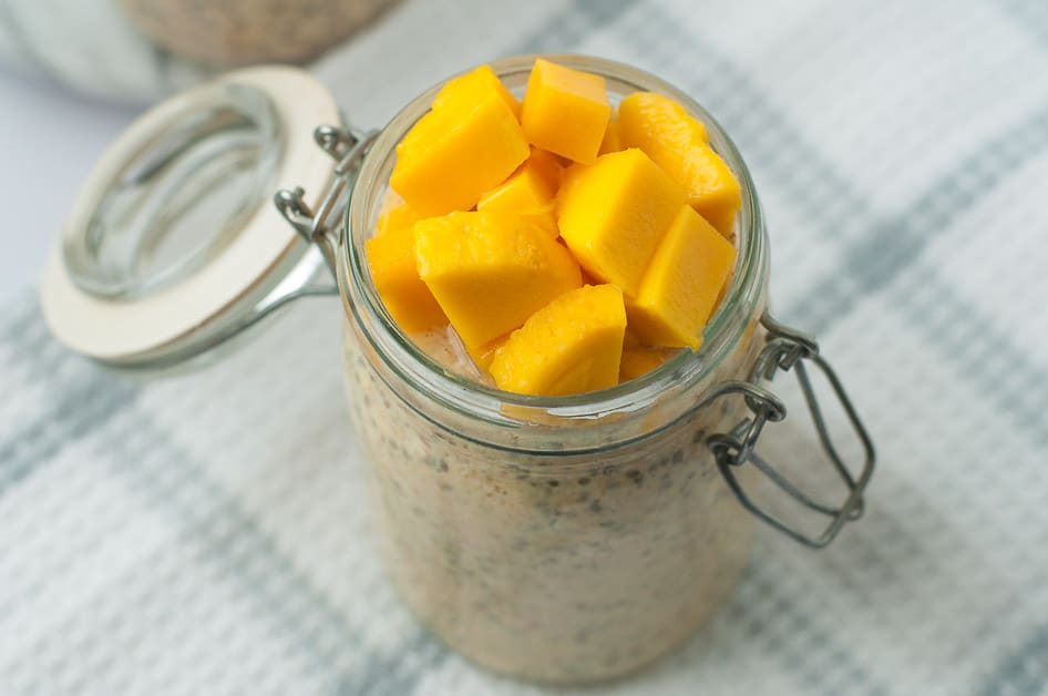 Mango Turmeric Overnight Oats. Made with probiotic kefir and anti-inflammatory turmeric.
