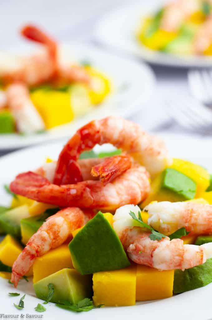 Prawn Mango Avocado Salad with prawn tails