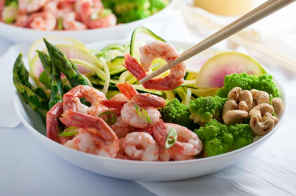 Fresh Veggie And Grilled Shrimp Zoodle Bowl Flavour And Savour