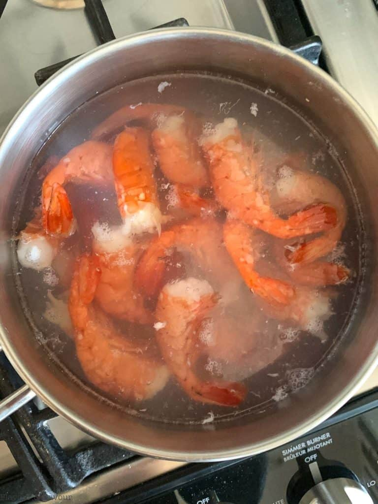 Prawns in boiling water