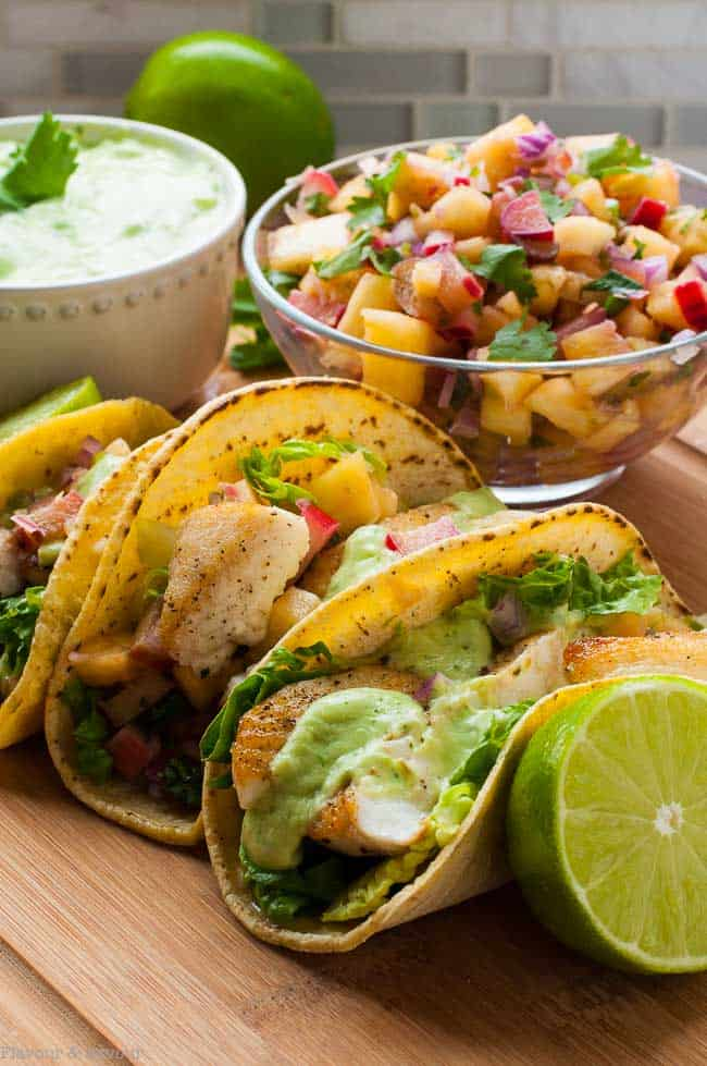 Grilled Fish Tacos with Pineapple Rhubarb Salsa