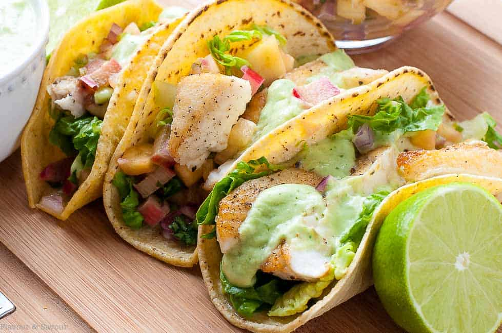 Close up view of Grilled Fish Tacos with Pineapple Rhubarb Salsa