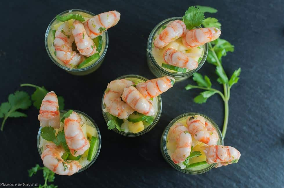 Grilled Prawn Cocktail with Pineapple Jicama Salad