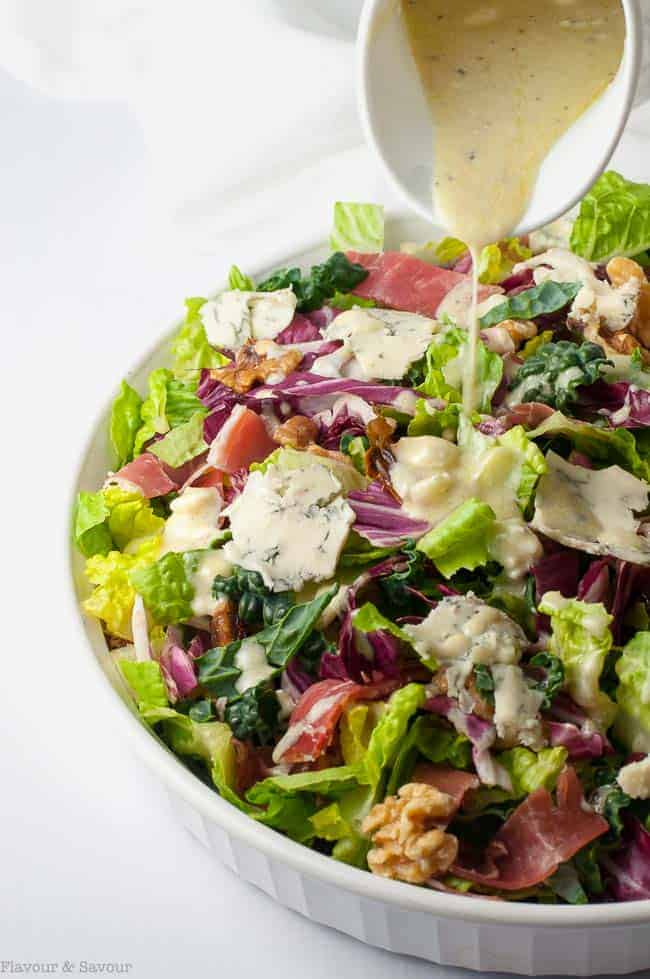 Hearty Tuscan Salad with Creamy Gorgonzola Dressing. This salad has it all: colour, crunch, and contrast. It's loaded with healthy greens and bold Mediterranean flavours from prosciutto, dates, walnuts and gorgonzola cheese.