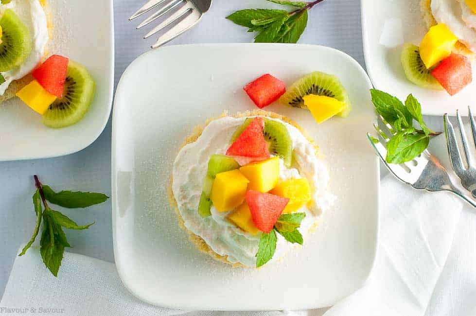 individual fruit flans with mango and melon