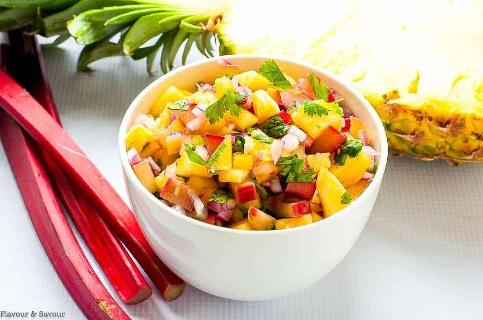 a bowl of pineapple rhubarb salsa