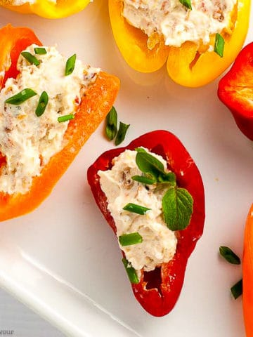 Red Orange and Yellow Stuffed Mini Peppers