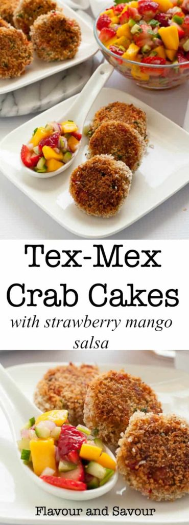 Tex Mex Crab Cakes with Strawberry Mango Salsa