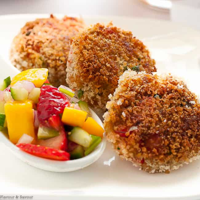 Tex-Mex Crab Cakes with a spoonful of mango salsa
