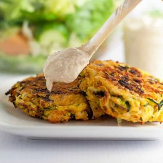 Crispy Baked Zucchini Patties with Lemon Tahini Dip