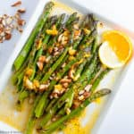 Charred asparagus with warm citrus sauce