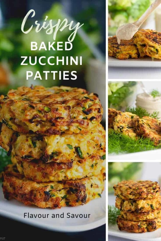 Pinterest pin for Crispy Baked Zucchini Patties 03/20