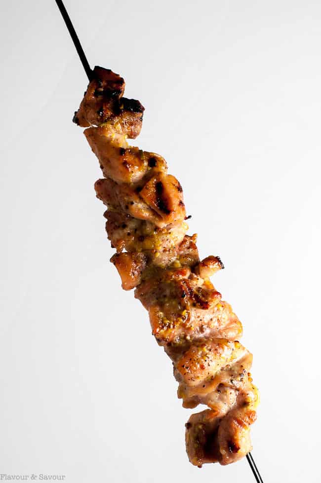 One grilled Rosemary Mustard Chicken Kabob