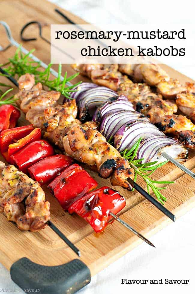 Grilled Rosemary Mustard Chicken Kabobs on a cutting board