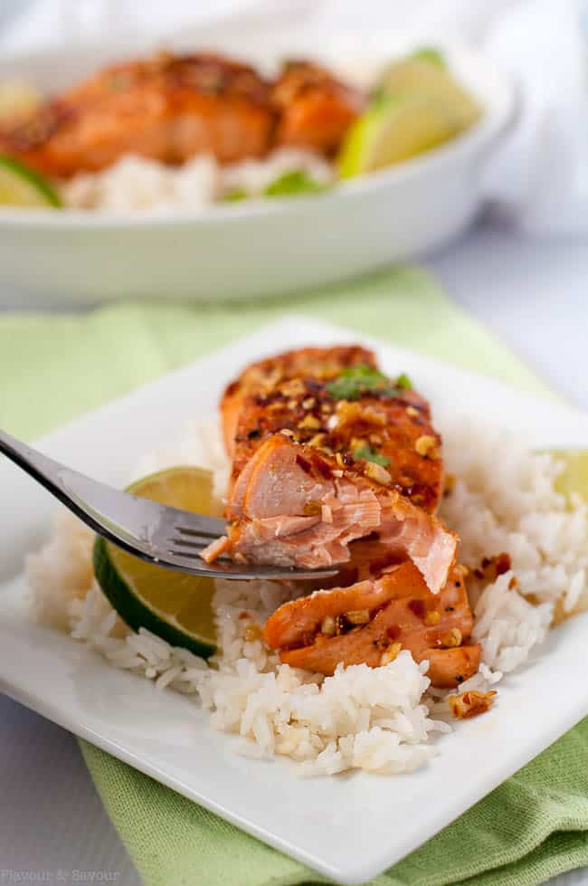 a forkful of Honey Chili Lime Glazed Salmon on rice