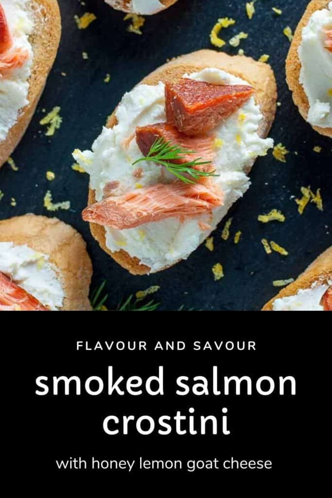 Pinterest pin for Smoked Salmon Crostini