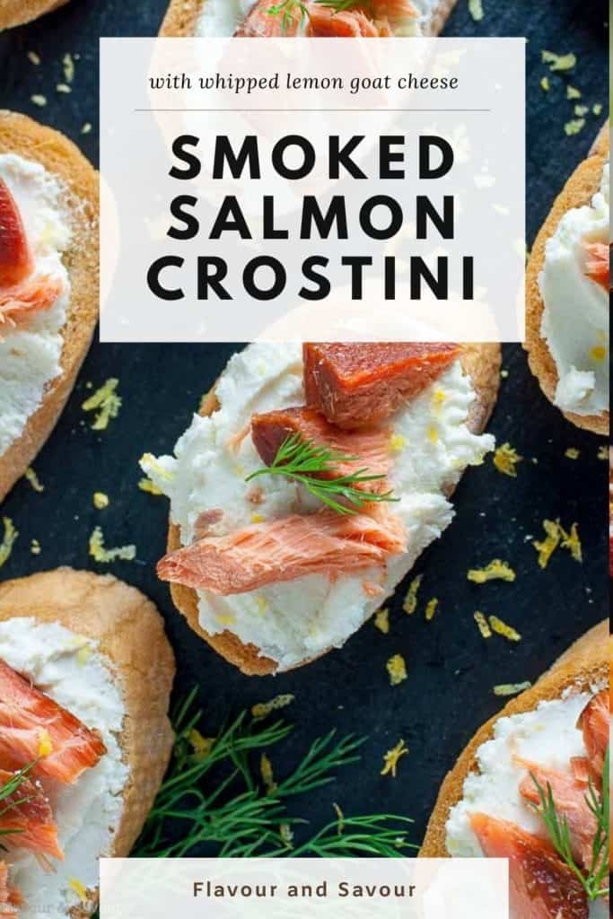 Smoked Salmon Crostini with whipped honey lemon goat cheese with text overlay