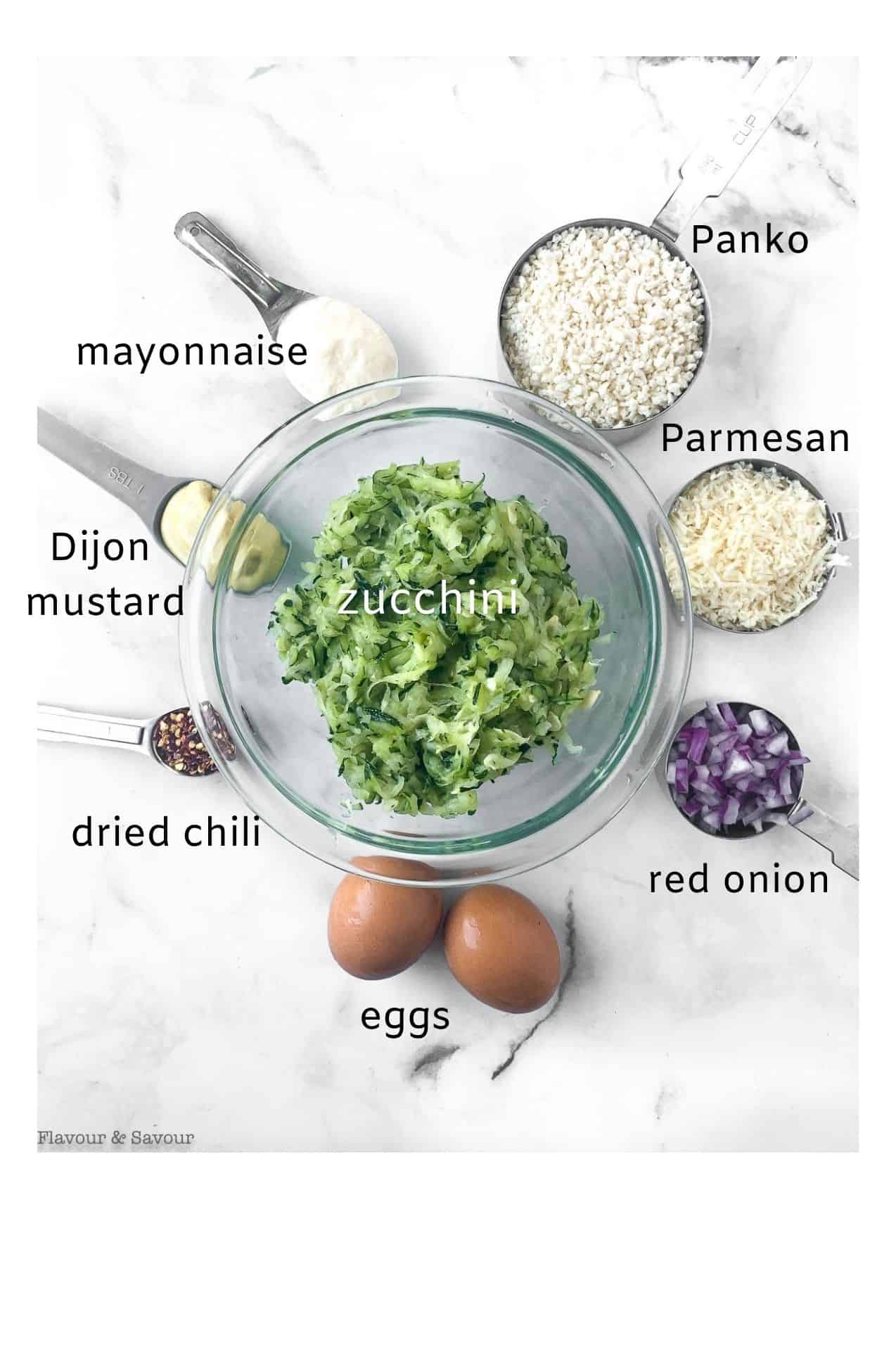 labeled image of ingredients for zucchini patties