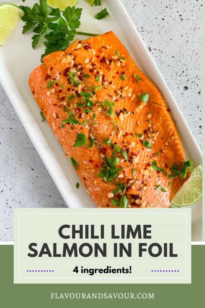 Image and text for Honey Chili Lime Salmon in Foil