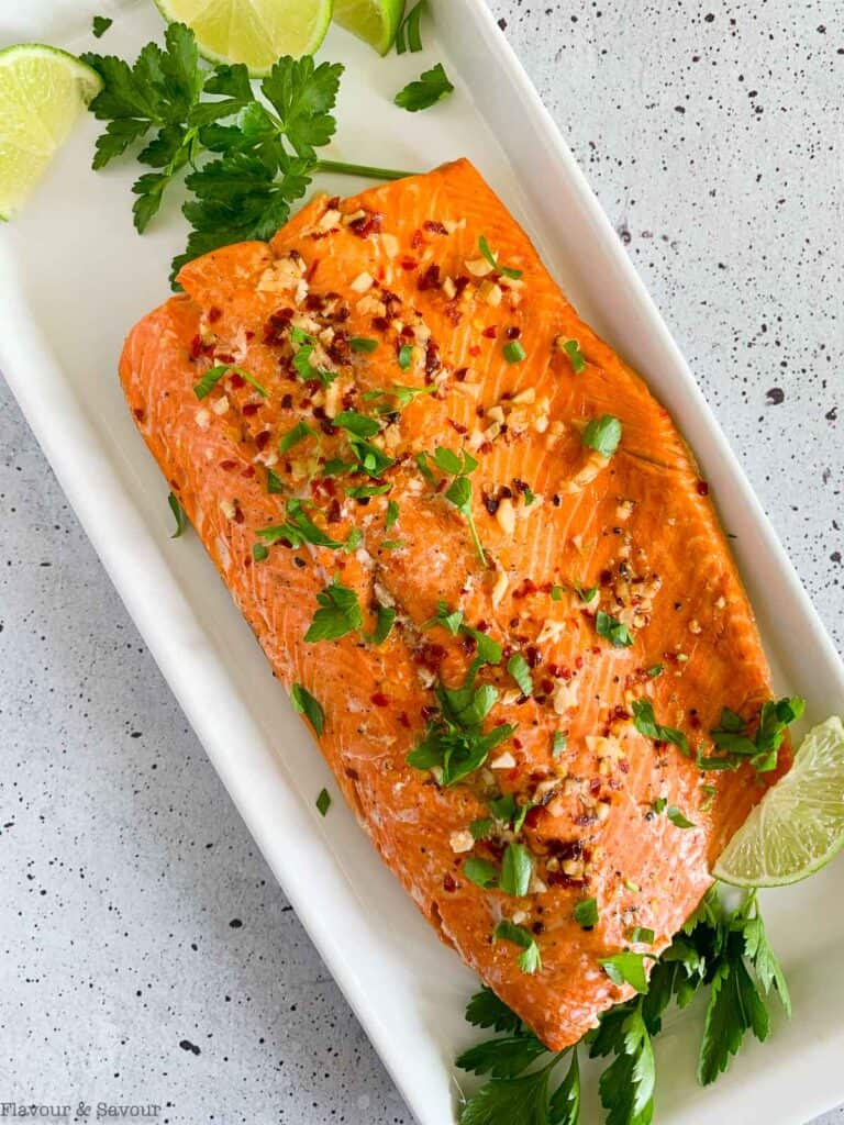 Baked Chili Lime Salmon on a platter.