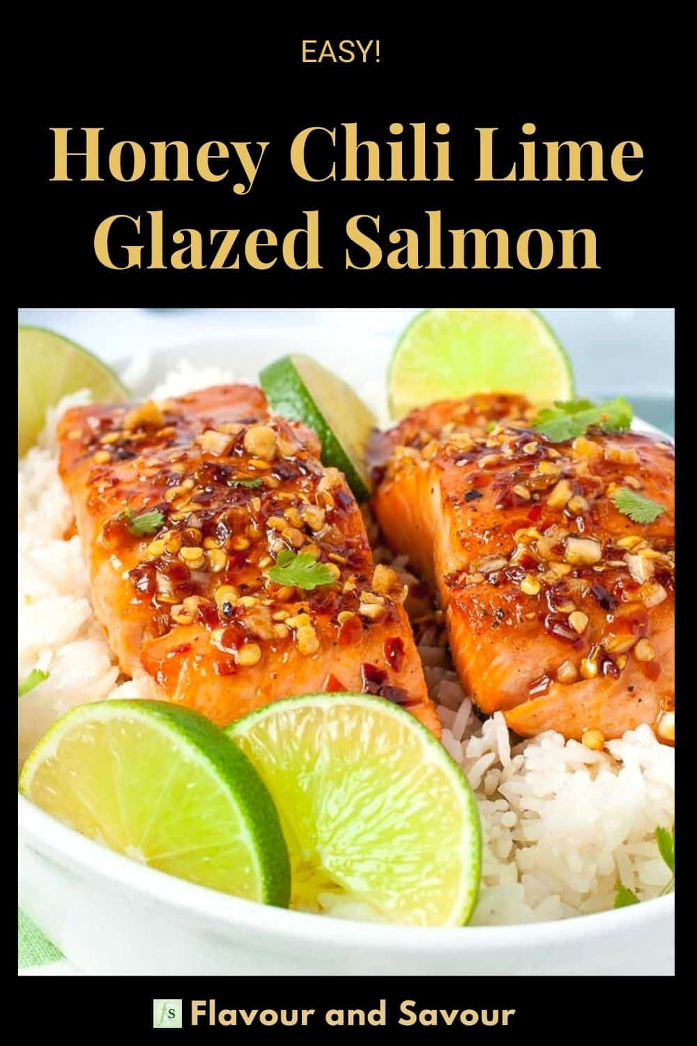 Image with Text Overlay for Honey Chili Lime Glazed Salmon