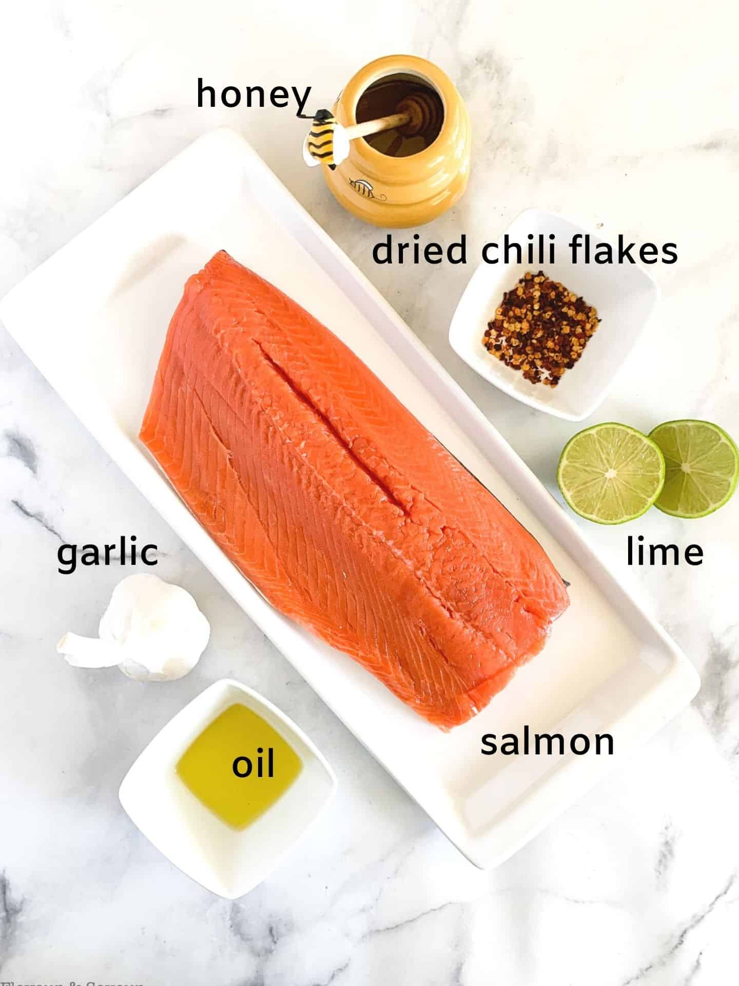 Labeled ingredients for Honey Chili LIme Glazed Salmon