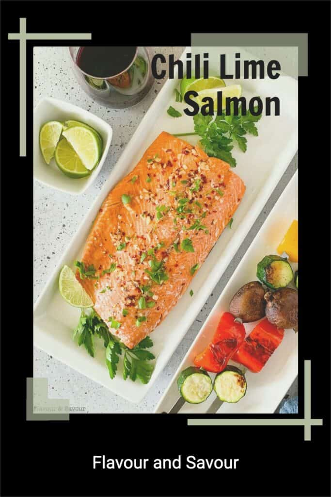 Pinterest image with text for Chili Lime Salmon