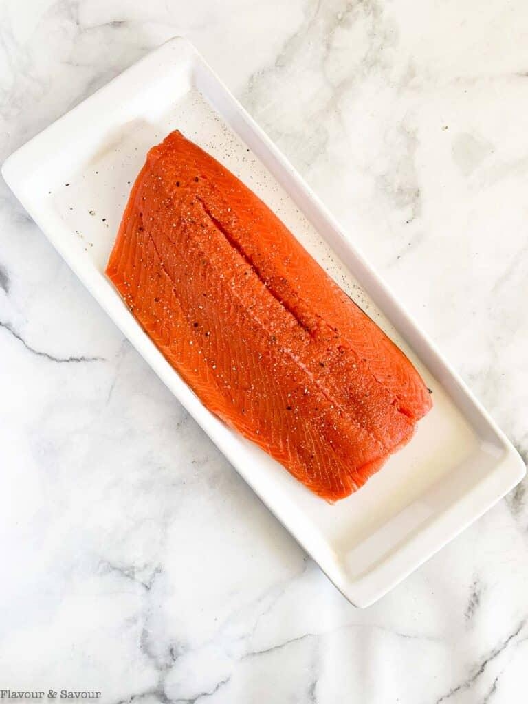 Salmon sprinkled with salt