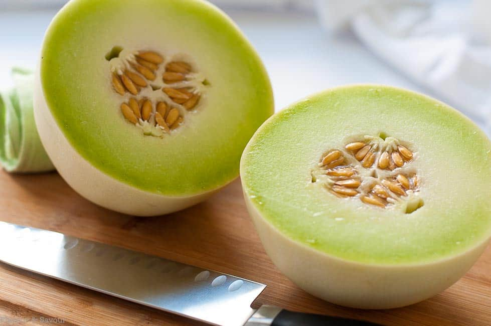 Honeydew Melon for Blackberry Honeydew Salad with Basil. Tips for choosing a ripe honeydew melon.