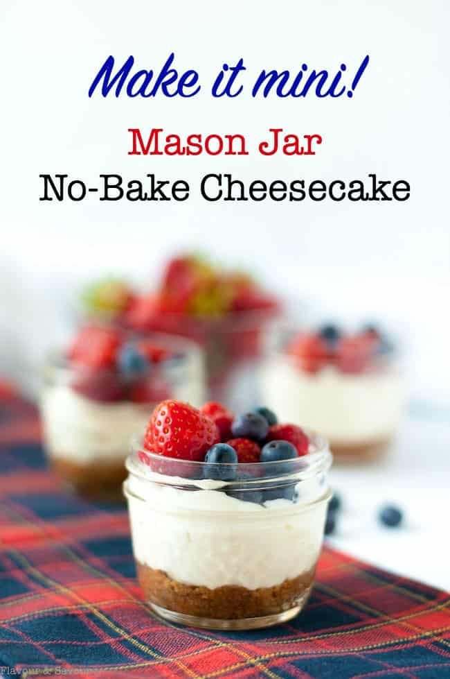 No-Bake Cheesecake in a small Mason jar topped with strawberries and blueberries