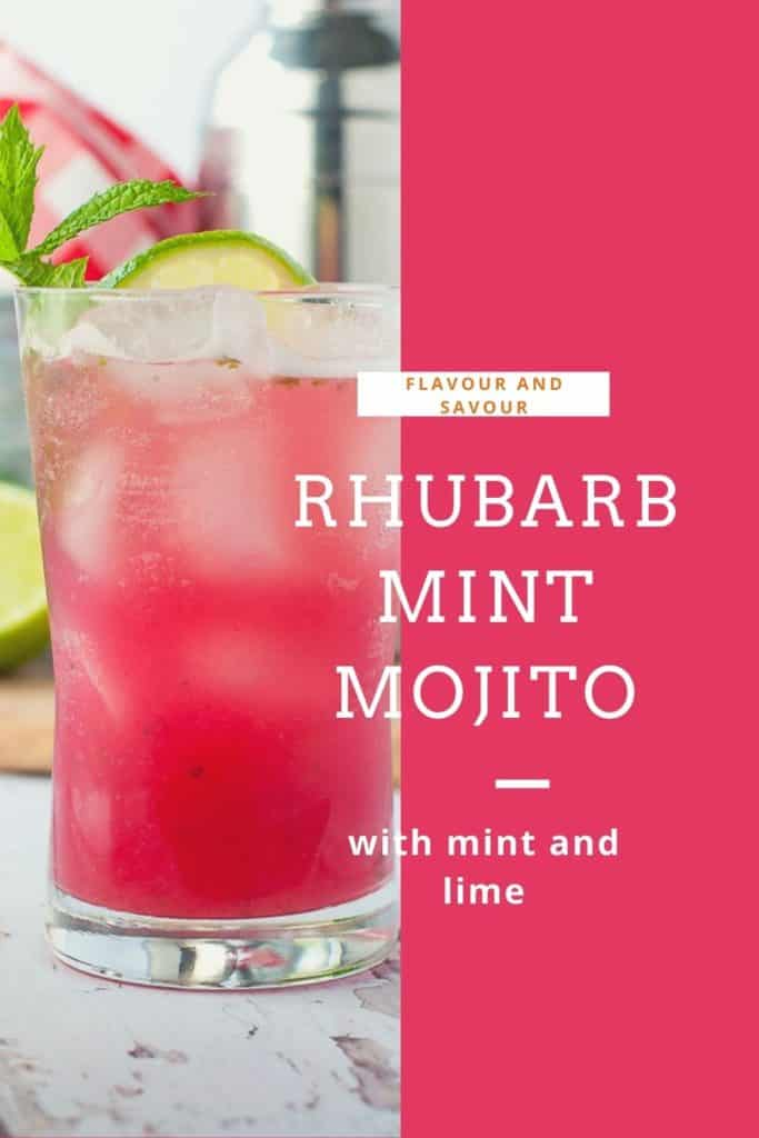 image with text for Rhubarb Mint Mojito
