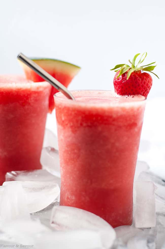 Strawberry Watermelon Sangria Slushie on a bed of ice