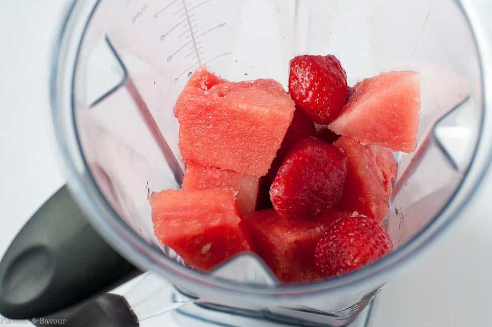 Frozen Fruit in Vitamix for Strawberry Watermelon Sangria Slushie