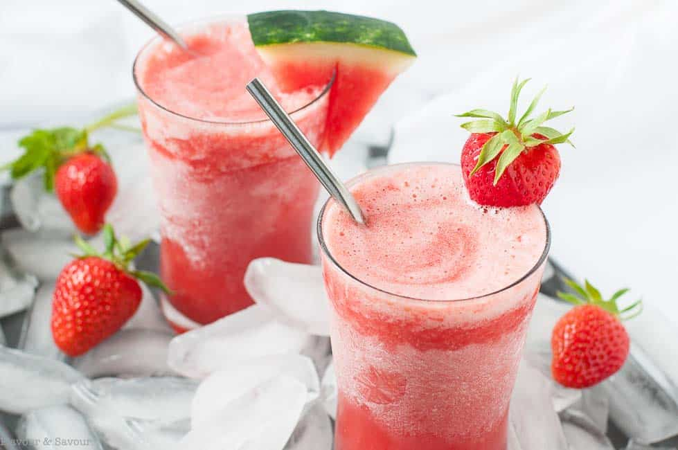 Strawberry Watermelon Sangria Slushie with choice of garnish