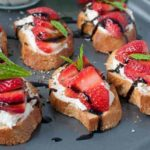 Strawberry Whipped Feta Crostini with Balsamic Drizzle |www.flavourandsavour.com