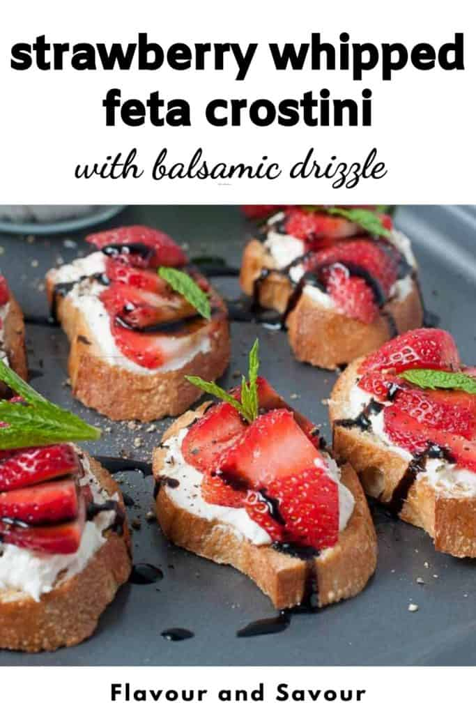 Pinterest Pin for Strawberry Whipped Feta Crostini
