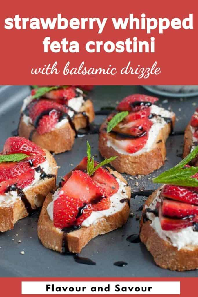 Pinterest pin Strawberry Whipped Feta Crostini